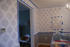 Cutting Edge Stencils shares a DIY stenciled dining room using the Cascade Allover pattern for a wallpaper look. Wall Stencil Patterns, Stencil Diy, Stenciling, Cutting Edge Stencils, Painting Wallpaper, Diy Wall Decor, Home Decor, Cool Walls, Your Space