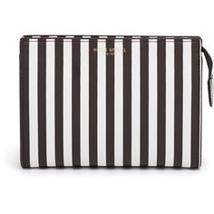 Henri Bendel Centennial Stripe Small Cosmetic Clutch (437035 PYG) ❤ liked on Polyvore featuring beauty products, beauty accessories, bags & cases and henri bendel