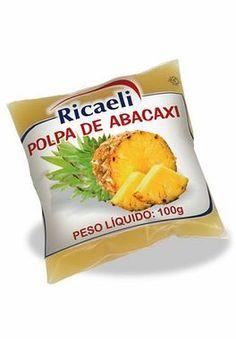 A Polpa de Fruta Riacaeli sabor Abacaxi é um produto 100% Natural, é Distribuída de Fruit Mix nas embalagens de 100g e 1Kg (10 unidades de 100g)