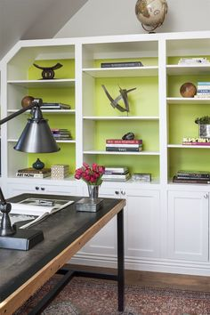 33 Trendy home office decor green bookshelves Green Bookshelves, Modern Bookcase, Bookshelf Ideas, Book Shelves, Hall Interior, Interior Design, Chartreuse Color, Brown Walls, Dining Nook