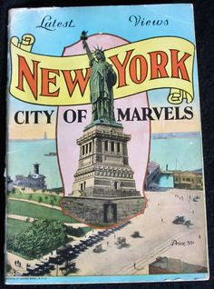 Published in 1929 by United Postal Card Co. The last year that the Statue of Liberty would be the central image on an NYC brochure, since the Chrysler Building and then the Empire State Building went up shortly thereafter. For some reason, the back cover features, along with Central Park and the Bronx Botanical Museum, a big picture of Charles Lindbergh's plane Spirit of St. Louis. I guess in 1929 he was so universally beloved that every city claimed him.