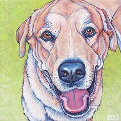 Custom pet portrait painting in acrylic paint on canvas of Rocco the yellow lab mixed breed dog on lime green background, 10x10   see more at www.petportraitsbybethany.com  #custompetportrait #custompetart #yellowlab #dogart #dogportrait