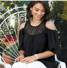 """Ciao, Bella! Inspired by the ITALIAN FLAIR FOR THE DRAMATIC, the SPRING SIGNATURE COLLECTION. This Open-Shoulder Crochet Top in Misses, Flowy black blouse featuring crochet inset detail on front and back, Center back length, 24"""" (on Medium), Scoop neckline, 3/4 sleeve, cold- shoulder, and Keyhole button back closure. $24.99 #giftsforher #mothersdaygift #fashion #signaturecollection #openshoulder #crochettop"""