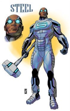 Patrick Zircher Shares the New Steel Design - DC Comics News Arte Dc Comics, Dc Comics Superheroes, Batman Comics, Superhero Characters, Dc Comics Characters, Comic Book Artists, Comic Books Art, Comic Art, Justice League