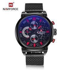 Hight quality blue luminated qiartz men watch stainless steel mesh clock dual time sport wristwatch round luxuty large men watch