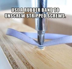 Handyman hack and tricks. Use a rubber band to remove stripper screws.