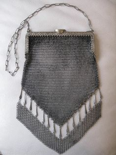 Antique Victorian Art Deco German Silver Tassel Fancy Fringe Mesh Purse TWINLOC