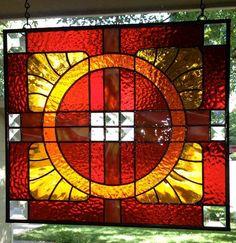 Handmade Stylized Sunflower Panel - by Amber Glass Studio