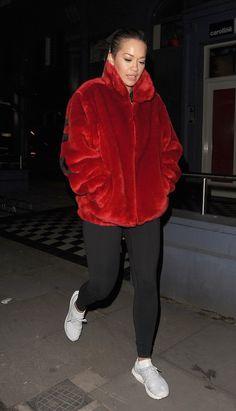 Rita Ora Rocks Supreme Faux Fur Jacket And Adidas Sneakers