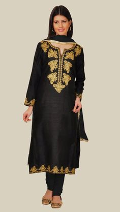 Black Chanderi Suit With Kashmir Inspired Embroidery