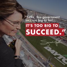 """""""Folks, this government isn't too big to fail, it's too big to succeed."""""""