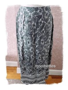 Abria Long Sarong Wrap Skirt 10 Maxi Black White Gray Floral Womens Medium M #Abria #WrapSarongSkirt