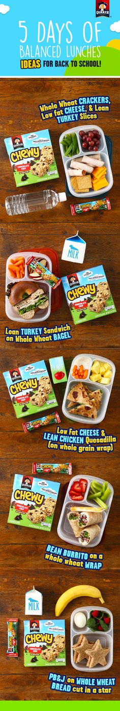 Looking for lunchbox inspiration? We have 5 ideas for balanced lunches for your kids! Be sure to pack a fruit and vegetable, dairy, lean protein and whole grains for a great lunch. And with 8g of 100% whole grains and other yummy ingredients like real chocolate chips, Quaker® Chewy Granola Bars are a delicious addition to any lunchbox.