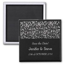 SAVE THE DATE magnet black and white wedding