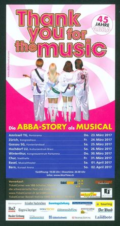 ABBA - THANK YOU FOR THE MUSIC - 2017 - MUSICAL - ORIGINAL FLYER - KEIN TICKET | eBay