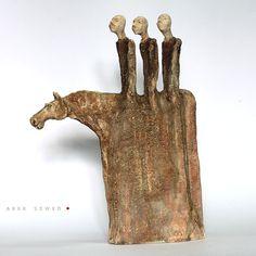 The 3xRiders /Ceramic Sculptures/Unique Ceramic Figurine/Horse by arekszwed on Etsy