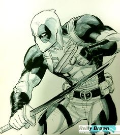 Some Incredible Art Surfacing from Comic Con - Reilly Brown Marvel Comics, Marvel Art, Marvel Heroes, Deadpool Art, Deadpool Funny, Marvel Drawings, Cool Drawings, Deadpool Drawings, Comic Books Art