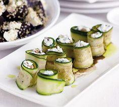 Stuffed courgette rolls