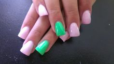 Baby pink & neon green acrylic