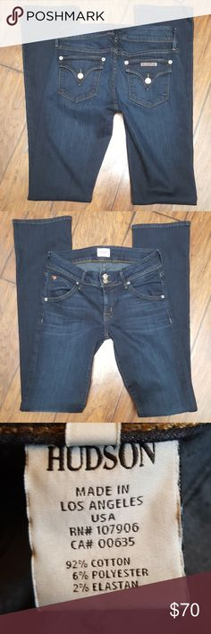 """EUC Hudson """"Beth Baby Boot"""" Jeans. Dark Blue. Super comfortable, soft and stretchy material. Only wore once.  RN# 107905 CA# 00635 Style# W176DMS Hudson Jeans Jeans Boot Cut"""