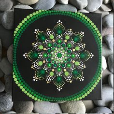 "12"" X 12"" Hand-Painted Mandala on Canvas - dot painting"