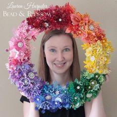 French Beaded Rainbow wreath by Lauren Harpster Beading Tutorials, Beading Patterns, Flower Patterns, Seed Bead Flowers, Seed Beads, Wreath Tutorial, Flower Tutorial, Beaded Bouquet, French Beaded Flowers