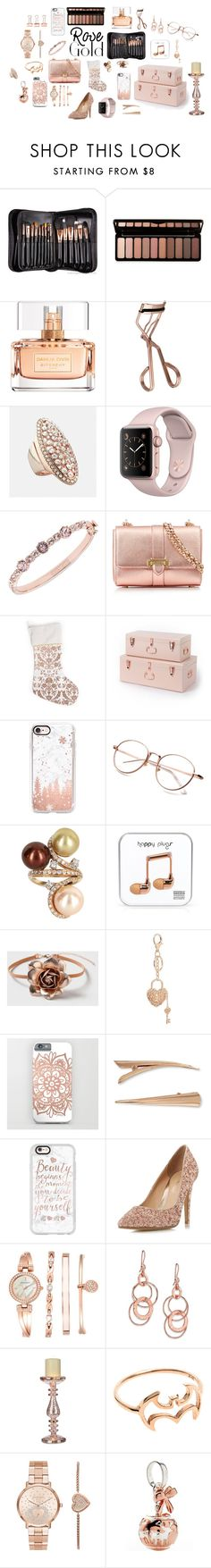 """""""Rose Gold Obsessed"""" by stephaniefb ❤ liked on Polyvore featuring Sigma, Givenchy, Tweezerman, Avenue, Aspinal of London, Casetify, Vintage, Happy Plugs, Dorothy Perkins and Charlotte Russe"""