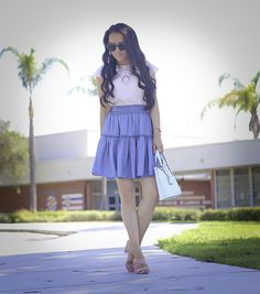 chambray ruffle skirt, casual summer outfit, petite fashion blog, embroidered lace top, weekend outfit, summer outfit idea, mint purse - click the photo for outfit details!