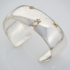 Silver Cuff with Gold Stitches