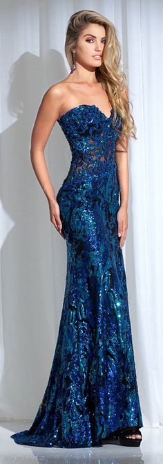 Tony Bowls Strapless Long Evening Gown