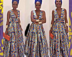 African Ankara V-Neck Maxi dress, African Clothing, Ankara Prom Dress, Women's Clothing