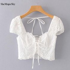 Women Embroidery Crop Top Women White Ruffles Tank Top Hollow Out Summer Ruffles Tops Size S Color White Tops Crop Top Outfits, Hot Outfits, Fashion Outfits, Womens Fashion, Henna Designs, Blouse Designs, Edgy Dress, Crop Tops, Trendy Tops