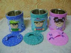 Kids Crafts, Tin Can Crafts, Diy And Crafts, Aluminum Cans, Diy Gift Box, Foam Sheets, Felt Applique, Candy Boxes, Holidays And Events