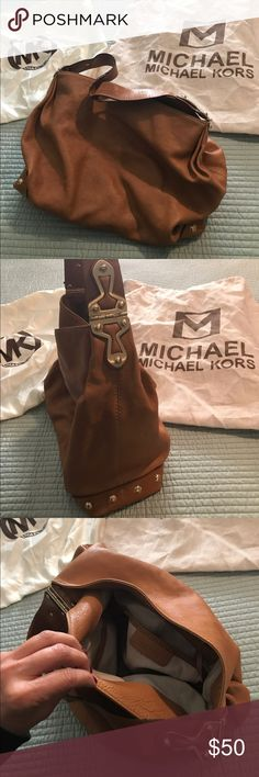 Michael Kors authentic handbag Michael Kors soft leather, large, well loved handbag.  Handle needs some repair, but still an awesome bag.  Protection bag is also included 👍 Michael Kors Bags Shoulder Bags