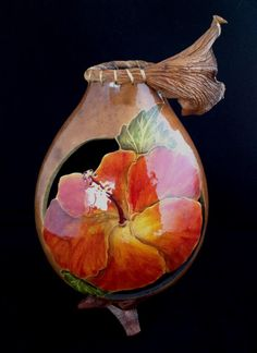 A carved and painted gourd by Ardee Gourder. Hand Painted Gourds, Decorative Gourds, Gourd Art, Hibiscus Flowers, Nature Crafts, Ancient Art, Indian Art, Rock Art, New Art