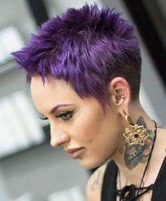 Pixie Cuts – Edgy, Shaggy, Spiky Pixie Cuts You Will Love Edgy Dark Purple Spiky … Short Purple Hair, Funky Short Hair, Short Hair Cuts, Short Hair Styles, Pixie Cuts, Purple Pixie Cut, Funky Hairstyles, Short Hairstyles For Women, Short Pixie Haircuts