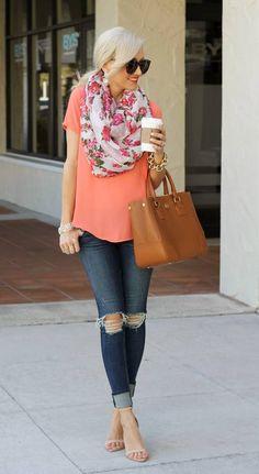 Coral top, distressed denim, floral scarf, nude heels