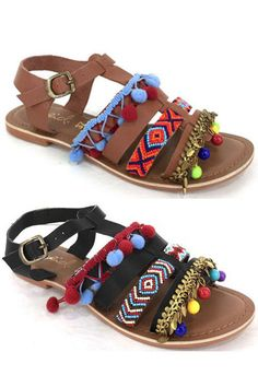 These eclectic charm gladiator sandals feature fun beading, pom pom fringe, golden feather and Multi-color charms! - Color Available: Black