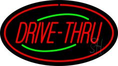 Drive-Thru Oval Red Neon Sign 17 Tall x 30 Wide x 3 Deep, is 100% Handcrafted with Real Glass Tube Neon Sign. !!! Made in USA !!!  Colors on the sign are Green and Red. Drive-Thru Oval Red Neon Sign is high impact, eye catching, real glass tube neon sign. This characteristic glow can attract customers like nothing else, virtually burning your identity into the minds of potential and future customers. Drive-Thru Oval Red Neon Sign can be left on 24 hours a day, seven days a week, 365 days a…