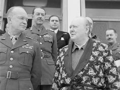 Winston Churchill and Dwight Eisenhower. Of course Winston would be in his bathrobe...(*giggle*)