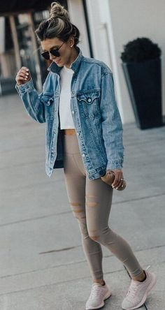 comfy outfit idea for this fall / denim jacket white crp top beige leggings sneakers Leggings Outfit Winter, Yoga Pants Outfit, Yoga Outfits, Black Leggings, Outfit Ideas With Leggings, Comfy Outfit, Cute Legging Outfits, Shorts With Leggings, Denim Jacket Outfit Winter