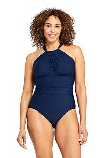Try our Women's Slender Keyhole High-neck One Piece Swimsuit with Tummy Control at Lands' End. Jersey Maxi Skirts, High Neck One Piece, Wide Fit Shoes, Latest Fashion For Women, Womens Fashion, Striped Jersey, Rain Wear, Floral Shorts, Swimsuits
