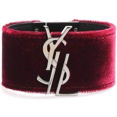 Saint Laurent Embellished Velvet Bracelet ($405) ❤ liked on Polyvore featuring jewelry, bracelets, red, red jewellery, yves saint laurent, yves saint laurent jewelry, red velvet jewelry and red bangles