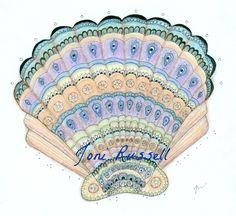 Peacock Sea Shell zendoodle. Zentangle inspired.