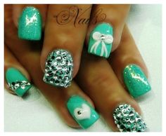 Acrylic Nails Natural Look: Acrylic Nails Mint Green ~ nailsdesignsideas.com Acrylic Nails Inspiration
