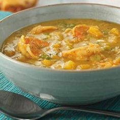 Jamaican Curried Shrimp & Mango Soup  ~ Healthy Soup Recipes to Boost Metabolism | Eating Well. Ingredients:  extra-virgin olive oil, onion, celery, garlic, serrano chile (optional), curry powder, dried thyme, seafood broth, coconut milk, mangoes, shrimp, scallions, salt