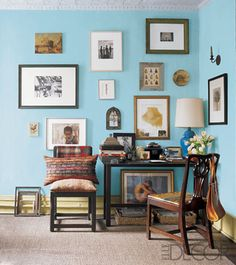 nice wall color and gallery wall