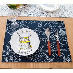 Leaf Printed Cotton Linen Placemat White Navy Heat Insulation Mat 32*45cm Dining Table Mat Coasters Kitchen Accessories-in Mats & Pads from Home & Garden on Aliexpress.com | Alibaba Group