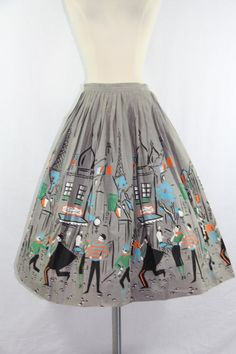 1950's Skirt  Vintage Cotton Novelty Print by VintageFrocksOfFancy, $140.00