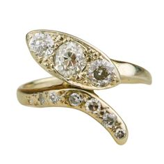 Victorian Diamond and White Gold Snake Ring | From a unique collection of vintage fashion rings at http://www.1stdibs.com/jewelry/rings/fashion-rings/